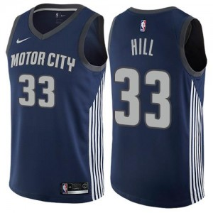 Nike NBA Maillots De Basket Grant Hill Pistons Enfant bleu marine No.33 City Edition