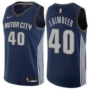 Nike NBA Maillots De Bill Laimbeer Detroit Pistons bleu marine Homme No.40 City Edition