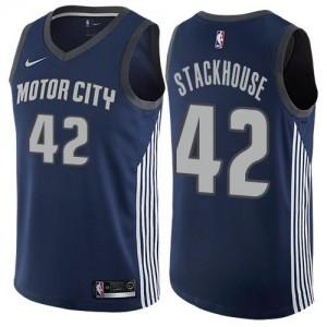 Maillots De Jerry Stackhouse Detroit Pistons Nike City Edition Enfant #42 bleu marine