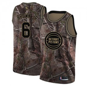 Nike Maillots Bruce Brown Jr. Detroit Pistons Camouflage No.6 Enfant Realtree Collection