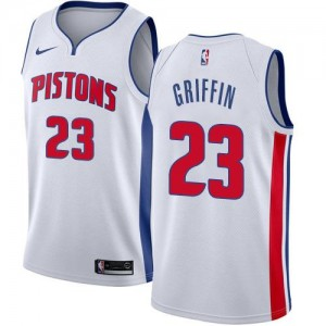 Nike NBA Maillots Griffin Detroit Pistons Homme #23 Blanc Association Edition