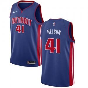 Nike NBA Maillots De Basket Nelson Detroit Pistons Homme Icon Edition #41 Bleu royal