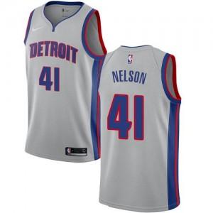 Maillot De Jameer Nelson Pistons Nike Enfant No.41 Argent Statement Edition