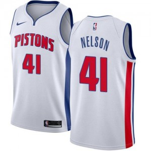 Nike NBA Maillot Basket Nelson Pistons No.41 Blanc Association Edition Enfant