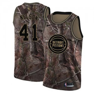 Nike Maillots De Jameer Nelson Detroit Pistons Camouflage Realtree Collection #41 Enfant