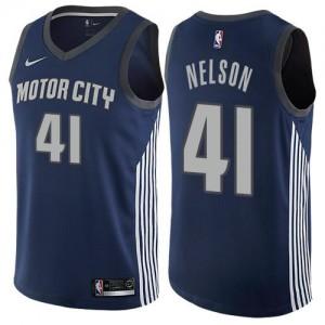 Nike NBA Maillot De Nelson Detroit Pistons City Edition bleu marine No.41 Homme