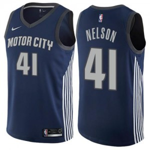 Nike NBA Maillot De Jameer Nelson Detroit Pistons Enfant No.41 bleu marine City Edition