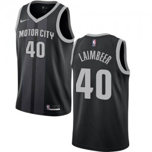 Maillots Basket Bill Laimbeer Detroit Pistons Noir Nike City Edition Homme No.40