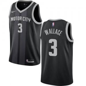 Nike NBA Maillots Ben Wallace Detroit Pistons No.3 Noir City Edition Homme