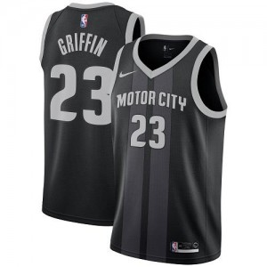 Nike Maillots Basket Griffin Detroit Pistons City Edition Noir Homme #23