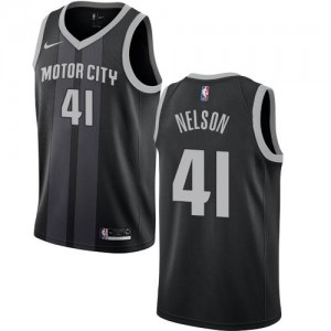 Maillots Basket Nelson Pistons City Edition Nike No.41 Noir Homme