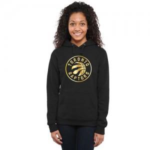 NBA Hoodie Raptors Femme Noir Gold Collection Ladies Pullover