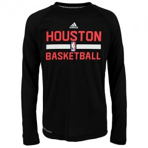 T-Shirt De Houston Rockets Adidas On-Court Climalite Ultimate Long Sleeve Homme Noir