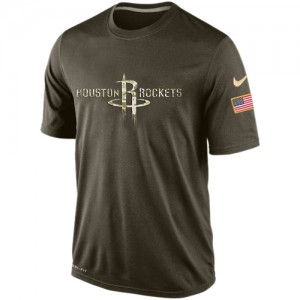T-Shirt De Basket Rockets Nike Olive Salute To Service KO Performance Dri-FIT Homme