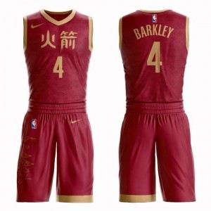 Nike Maillots De Basket Charles Barkley Houston Rockets Suit City Edition Rouge Homme No.4