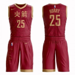 Nike NBA Maillots Basket Robert Horry Houston Rockets Rouge Homme Suit City Edition #25