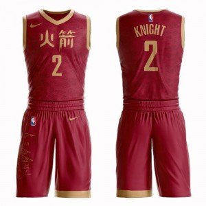 Maillots Basket Brandon Knight Houston Rockets Homme No.2 Suit City Edition Rouge Nike