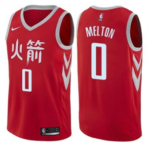 Nike Maillots Basket Melton Rockets Homme City Edition No.0 Rouge