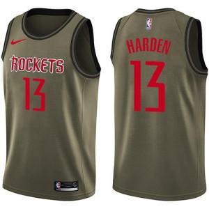 Maillots James Harden Houston Rockets Nike Enfant No.13 Salute to Service vert