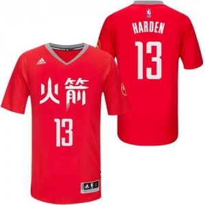 Adidas NBA Maillot Harden Houston Rockets Slate Chinese New Year No.13 Homme Rouge