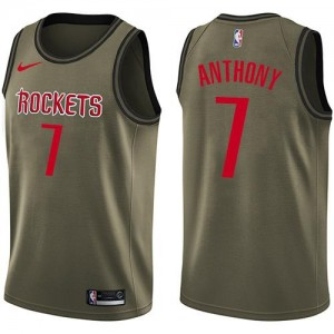 Nike NBA Maillots Basket Carmelo Anthony Houston Rockets vert #7 Homme Salute to Service