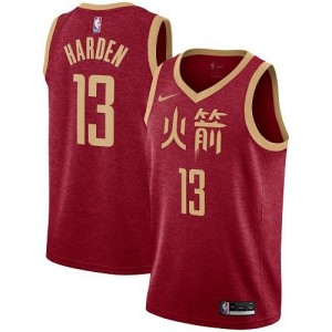 Maillots Harden Houston Rockets Rouge Nike Enfant #13 2018/19 City Edition