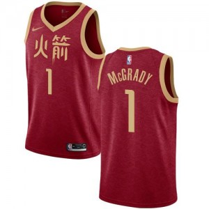 Nike NBA Maillots De Basket McGrady Rockets 2018/19 City Edition Rouge Enfant #1