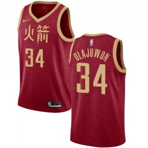 Maillots Basket Hakeem Olajuwon Rockets Enfant Nike Rouge 2018/19 City Edition #34