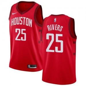 Nike NBA Maillots De Rivers Houston Rockets Enfant Earned Edition Rouge #25