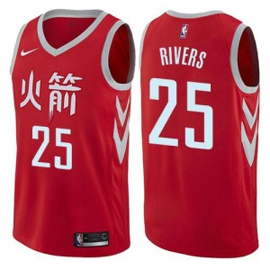 Nike Maillot Austin Rivers Rockets City Edition #25 Homme Rouge