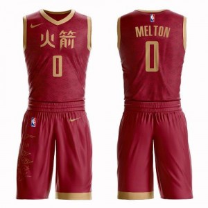 Maillot De'Anthony Melton Houston Rockets Rouge No.0 Homme Suit City Edition Nike
