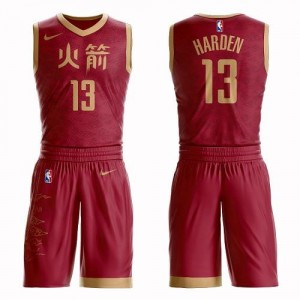 Maillot James Harden Houston Rockets #13 Rouge Homme Suit City Edition Nike