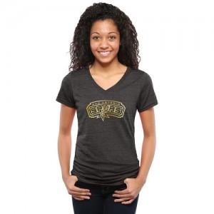 T-Shirt Basket Spurs Femme Gold Collection V-Neck Tri-Blend Noir