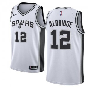 Nike Maillot Basket Aldridge Spurs No.12 Enfant Blanc Association Edition