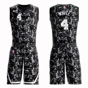Maillots Derrick White San Antonio Spurs No.4 Camouflage Homme Suit City Edition Nike