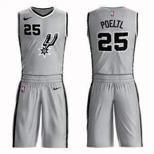 Maillot Basket Jakob Poeltl Spurs #25 Homme Argent Suit Statement Edition Nike