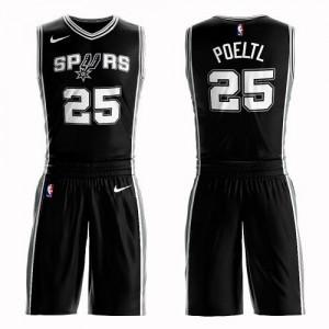 Nike Maillots Poeltl Spurs Suit Icon Edition Enfant #25 Noir