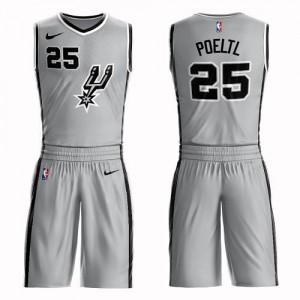 Maillot De Jakob Poeltl Spurs #25 Nike Enfant Argent Suit Statement Edition