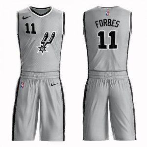 Maillots Basket Bryn Forbes San Antonio Spurs No.11 Suit Statement Edition Enfant Argent Nike