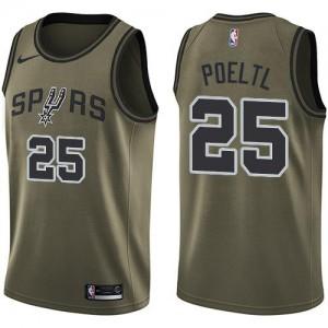 Nike Maillots Basket Jakob Poeltl Spurs Homme No.25 Salute to Service vert