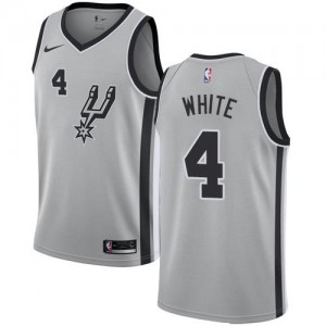 Nike Maillots Derrick White Spurs Enfant Argent Statement Edition No.4