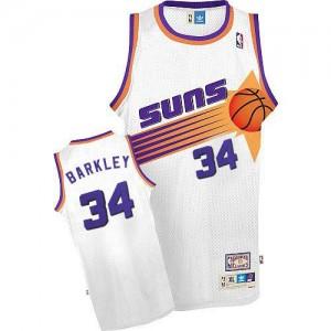 Adidas NBA Maillots De Charles Barkley Suns Homme Throwback Blanc #34