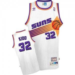 Maillot De Basket Jason Kidd Suns Blanc No.32 Adidas Homme Throwback