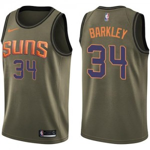 Maillots Charles Barkley Phoenix Suns #34 vert Nike Salute to Service Homme