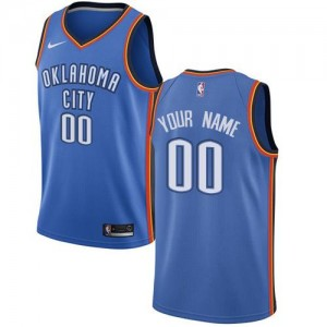 Nike Maillot Personnalise Basket Oklahoma City Thunder Homme Bleu royal Icon Edition