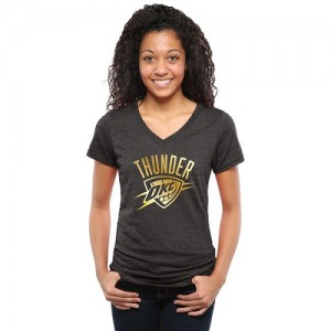 NBA T-Shirt De Basket Oklahoma City Thunder Noir Femme Gold Collection V-Neck Tri-Blend