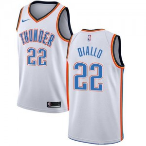 Nike NBA Maillots Basket Hamidou Diallo Thunder Blanc Homme No.22 Association Edition