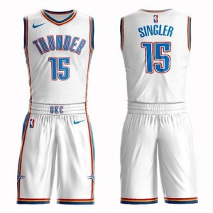 Maillot Kyle Singler Oklahoma City Thunder Nike Homme Blanc #15 Suit Association Edition