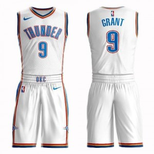 Maillots De Basket Jerami Grant Thunder Suit Association Edition #9 Nike Blanc Enfant