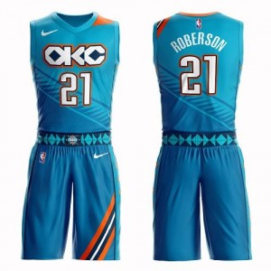 Nike NBA Maillots De Andre Roberson Oklahoma City Thunder #21 Suit City Edition Homme Turquoise